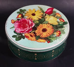 Vintage Round McVitie's Marigold Assorted Biscuits Floral Flowers Green Tin Container - Treasure Valley Antiques & Collectibles
