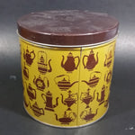 Vintage Tan Yellow and Brown Various Teapot Decor Round Tea Tin Container