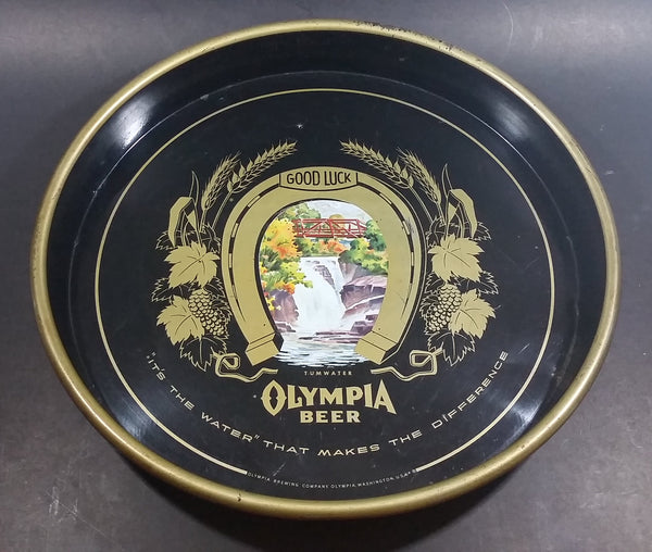 "Vintage Olympia Beer ""It's The Water"" Round Dark Blue Waterfall Tumwater Beverage Good Luck Serving Tray - Treasure Valley Antiques & Collectibles"