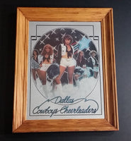 "Vintage Dallas Cowboys Cheerleaders NFL Football Team Wood Framed Sports 11"" x 14"" Mirror - Treasure Valley Antiques & Collectibles"