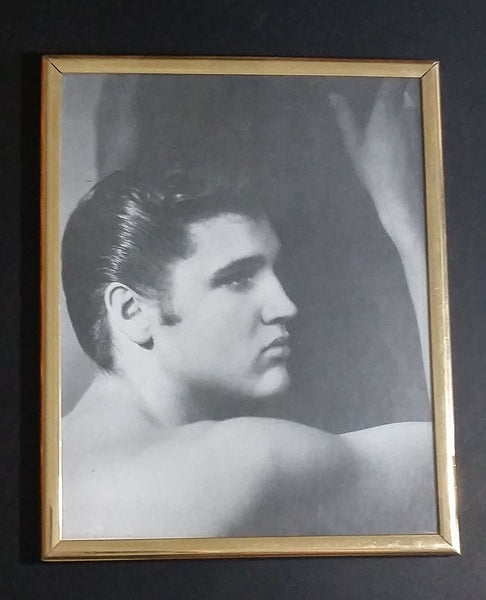 "Vintage Elvis Presley Shirtless Side Profile Black & White Golden Tone Framed 8"" x 10"" Photo - Treasure Valley Antiques & Collectibles"