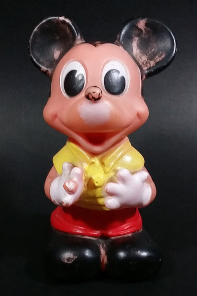 "Vintage Walt Disney Productions Mickey Mouse Cartoon Character Yellow and Red 5"" Rubber Toy - Treasure Valley Antiques & Collectibles"