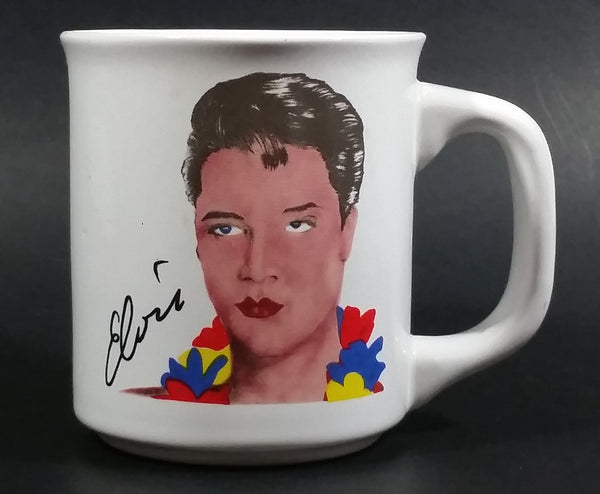 Vintage Elvis Presley in Hawaiian Clothing Wearing a Lei White Ceramic Coffee Mug Collectible - Treasure Valley Antiques & Collectibles