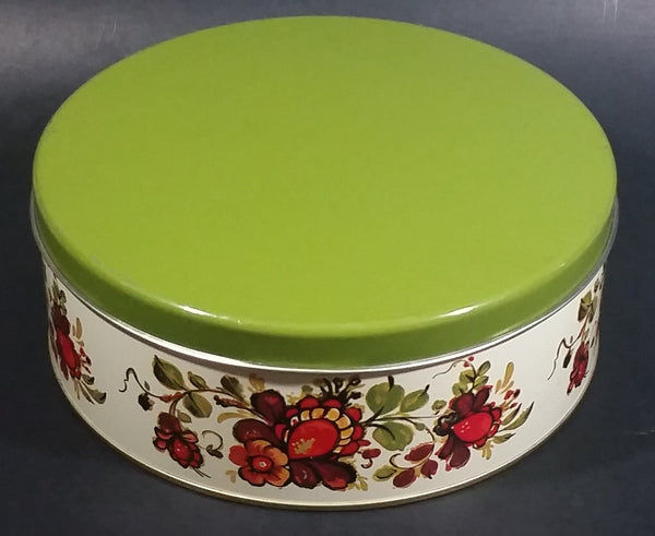 Vintage Round Red Orange Floral Flower White w/ Green Lid Tin Storage Container