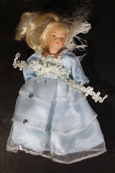 "Vintage Gift World of Gorham Porcelain 6"" Doll in Light blue Dress w/ Blonde Hair Hanging Ornament"