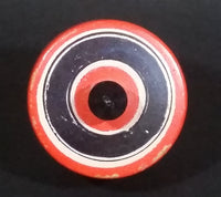 Vintage Orange Black and White Bullseye Solid Wood Spinning Top - Treasure Valley Antiques & Collectibles