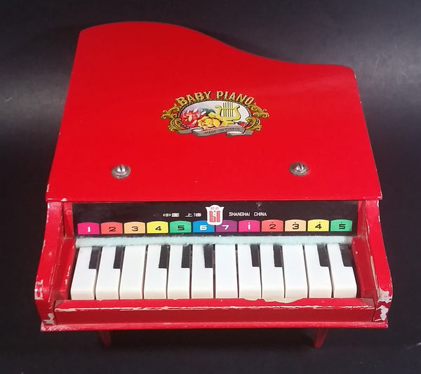 Vintage 1960s Beilei Red Wooden Baby Grand Piano Made in Shanghai, China - Treasure Valley Antiques & Collectibles