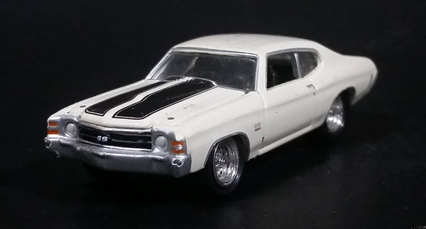 2003 Johnny Lightning 1971 Chevy Chevelle SS White w/ Black Stripes Die Cast Toy Car Vehicle w/ Opening Hood - Treasure Valley Antiques & Collectibles