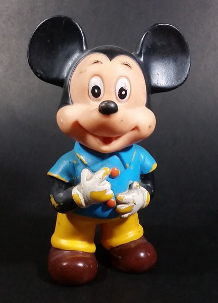 "Vintage Walt Disney Productions 7"" Mickey Mouse in Blue & Yellow Rubber Squeeze Toy Figure - Treasure Valley Antiques & Collectibles"