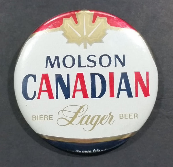 Molson Canadian Biere Lager Beer Round Collectible Red Blue White Gold Leaf Button Pin - Treasure Valley Antiques & Collectibles