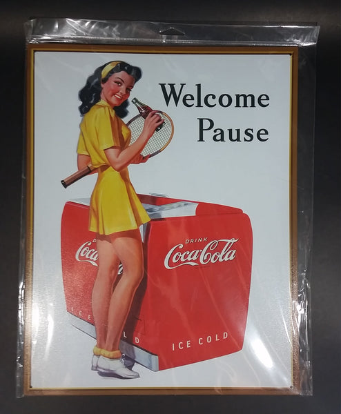 "Collectible Coca-Cola Coke Soda Pop 50s Tennis Girl Welcome Pause Metal 12"" x 16"" Sign - Man Cave She Shed Garage Kitchen Collectibles - Treasure Valley Antiques & Collectibles"