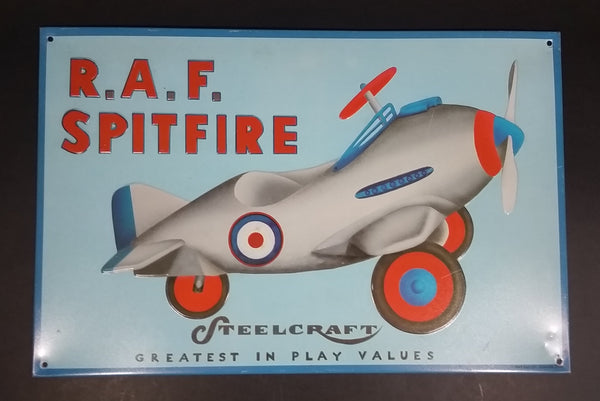 Rare Vintage Steelcraft Toys R.A.F. Spitfire Airplane Greatest In Play Value Embossed Metal Sign - AAA Signs Co. Coitsville, Ohio - Treasure Valley Antiques & Collectibles