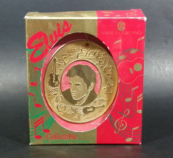 1995 American Greetings Elvis Presley 18K Gold Plated Hanging Christmas Tree Ornament New In Box - Treasure Valley Antiques & Collectibles