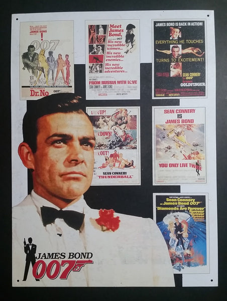 "Vintage 1988 James Bond 007 Series Sean Connery Actor White 11"" x 16"" Tin Metal Sign - Treasure Valley Antiques & Collectibles"