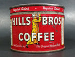 Vintage c. 1952 Hills Bros Coffee 1/2 Lb. Empty Red Round Tin Can with Lid - San Francisco - Treasure Valley Antiques & Collectibles