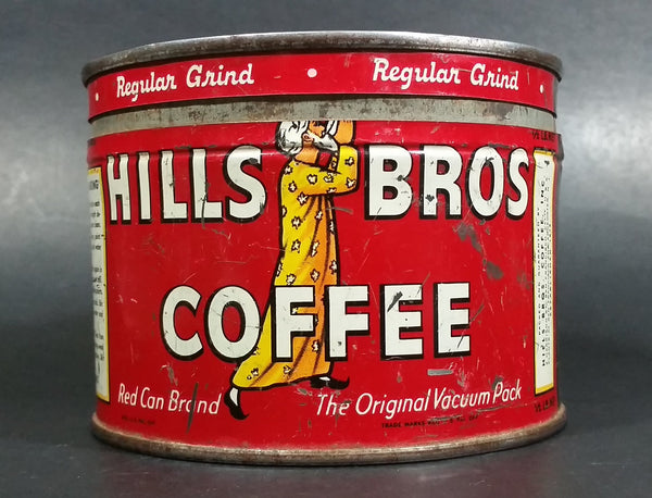 Vintage c. 1952 Hills Bros Coffee 1/2 Lb. Empty Red Round Tin Can with Lid - San Francisco