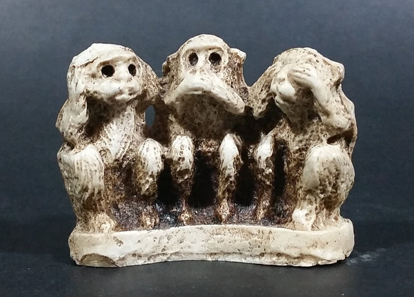 Antique Wise Monkeys Hear No Evil, Speak No Evil, See No Evil Small Bone Carving - Signed - Treasure Valley Antiques & Collectibles