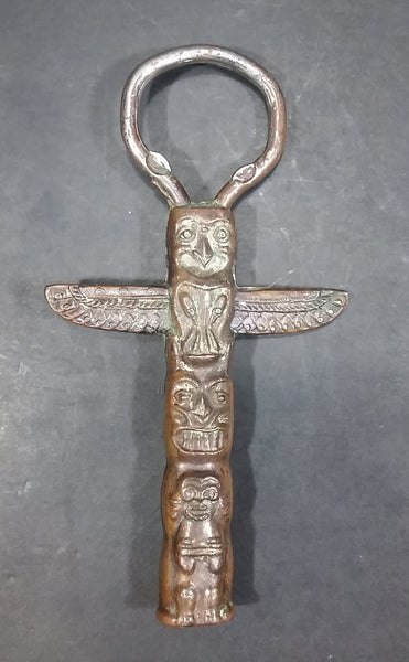 Canadian Pacific Northwest Winged Bird Totem Carving Copper and Metal Bottle Opener - Bar Accessories - Treasure Valley Antiques & Collectibles