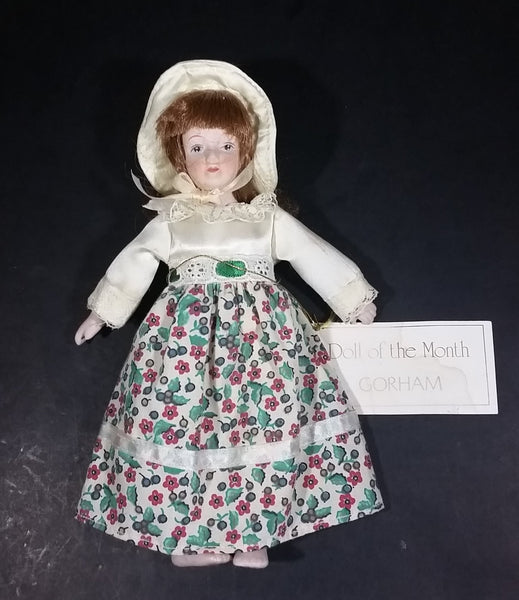 "Vintage Gift World of Gorham Porcelain 6"" Doll Hanging Ornament - 1983 December Doll of The Month - Treasure Valley Antiques & Collectibles"