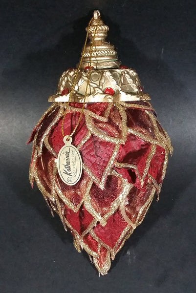 Katherine's Collection Dark Red with Gold Pointed Crowned Bulb Christmas Ornament - Treasure Valley Antiques & Collectibles