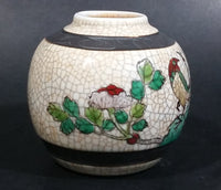 Chinese Crackle Glaze Porcelain Ginger Jar Vase Birds Flowers No Lid - Treasure Valley Antiques & Collectibles