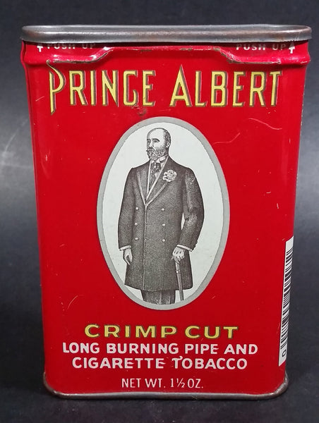 Vintage Prince Albert Crimp Cut Long Burning Pipe And Cigarette Red Hinged 1 1/2 Oz. Tobacco Tin - Treasure Valley Antiques & Collectibles