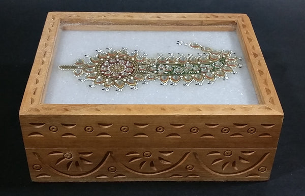Hand Crafted Wooden Carved Jewelry Trinket Hinged Box with Gemstone Flower Design Under Glass - Treasure Valley Antiques & Collectibles
