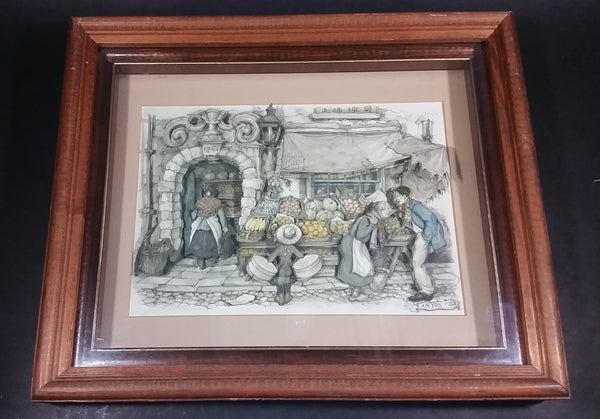 "Vintage Anton Pieck ""The Fruit Stand"" 10"" x 12"" 3D Wood Framed Glass Shadow Box Collectible Wall Hanging"