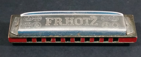 Vintage FR. Hotz Canadian Ace Red Painted Wooden and Metal Harmonica Instrument