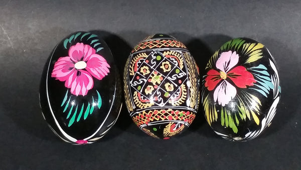 Set of 3 Vintage Black Detailed Flower Decor Polish Ukrainian Style Wooden Hand Painted Easter Eggs