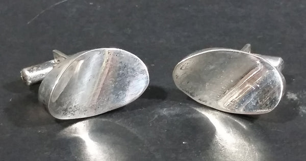 Vintage Oval Curved Modernist Sterling Silver Cufflinks - Made in Mexico - Treasure Valley Antiques & Collectibles