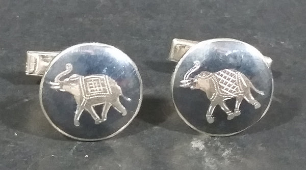 Vintage Siam Sterling Silver Round Black Niello Elephant Cufflinks - Treasure Valley Antiques & Collectibles