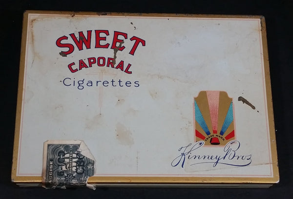 Vintage Kinney Bros. Sweet Caporal Cigarettes Light Blue Hinged Smokes Tin Collectible