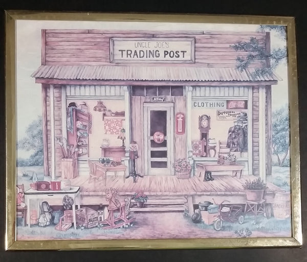 "Vintage Kay Lamb Shannon ""Uncle Joe's Trading Post"" Country Scene Coca-Cola Crown Cola 8 x 10 Framed Print - Treasure Valley Antiques & Collectibles"