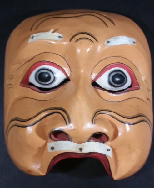 Vintage Wood Carved Face Mask with White Hair Eyebrows and Mustache (Some hair missing)