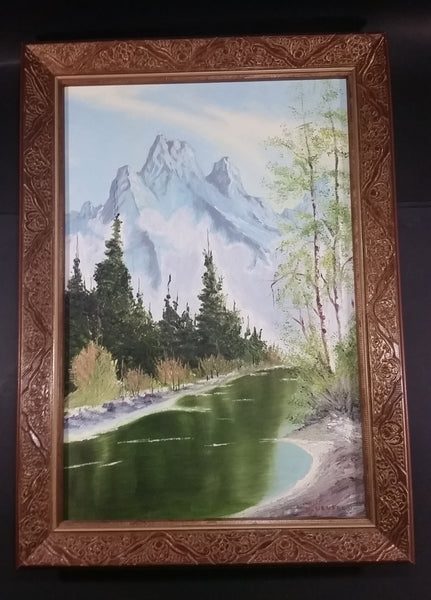"Signed Painting of a Creek or River with a Mountain View Wood Framed on 16"" x 24"" Canvas - By D. Neufeld - Treasure Valley Antiques & Collectibles"