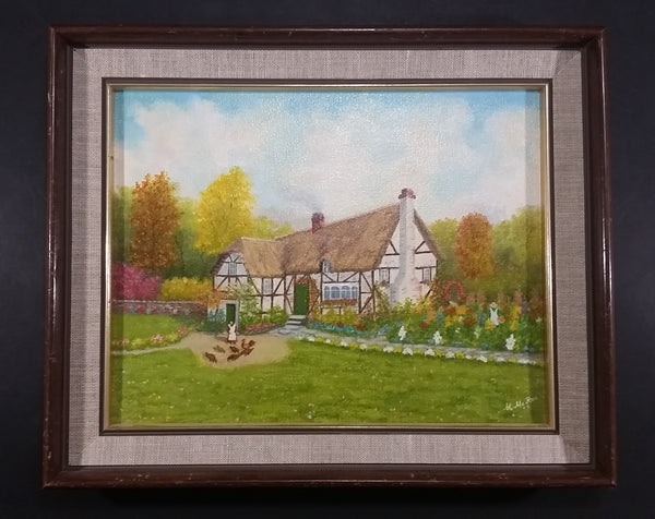 "Signed Painting of an English Cottage With a Lady Feeding Chickens Wood Framed on 11"" x 14"" Canvas - By Mary McRae 1992 - Treasure Valley Antiques & Collectibles"