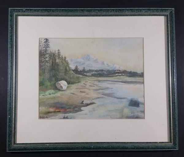 """Mt. Baker From The White Rock"" Watercolor Framed Painting by Irene Duff - Nanaimo Arts Council - British Columbia Art - Treasure Valley Antiques & Collectibles"