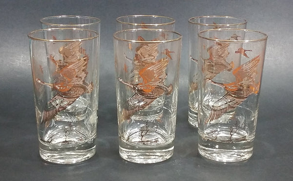 "Set of 6 Vintage Libbey Canada Goose Geese Golden Rimmed 5"" Drinking Tumbler Glasses - Treasure Valley Antiques & Collectibles"