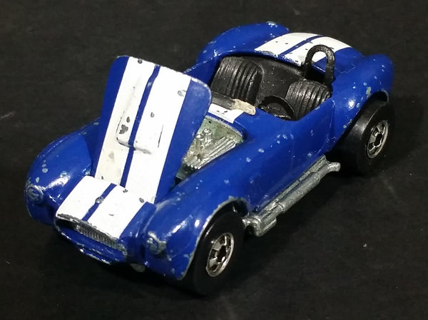 1983 Hot Wheels Hot Ones Classic Cobra Convertible Blue Die Cast Toy Car Vehicle w/ Opening Hood