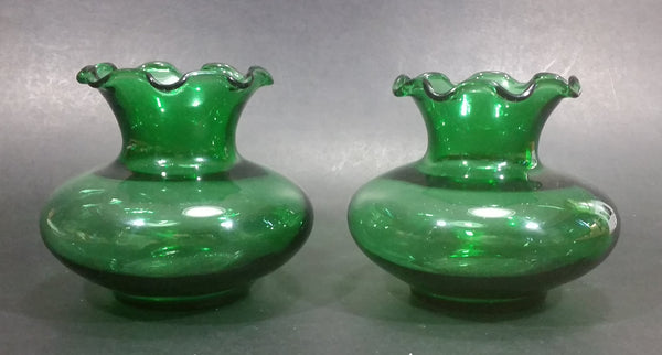 "Set of 2 Dark Emerald Green 3"" Tall Depression Glass Fluted Ruffle Top Vases - Treasure Valley Antiques & Collectibles"