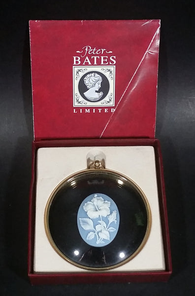 Peter Bates Limited Edition Blue White Flower Cameo in Black Hibiscus Pendant In Box - From The Miniature World of Peter Bates - Treasure Valley Antiques & Collectibles