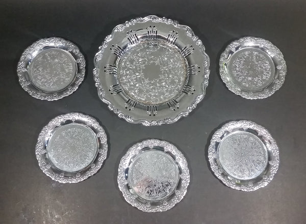 Rare Antique Wm. A. Rogers Silver Plated Copper Lead MTS 8412 Coaster 6 Piece Set