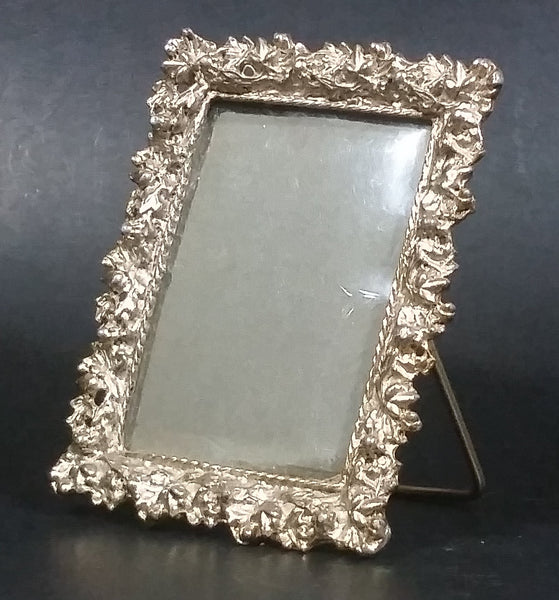 Vintage Small Ornate Gold Tone Metal Desk Shelf Sanding Photo Picture Frame (Plastic Cover) - Treasure Valley Antiques & Collectibles