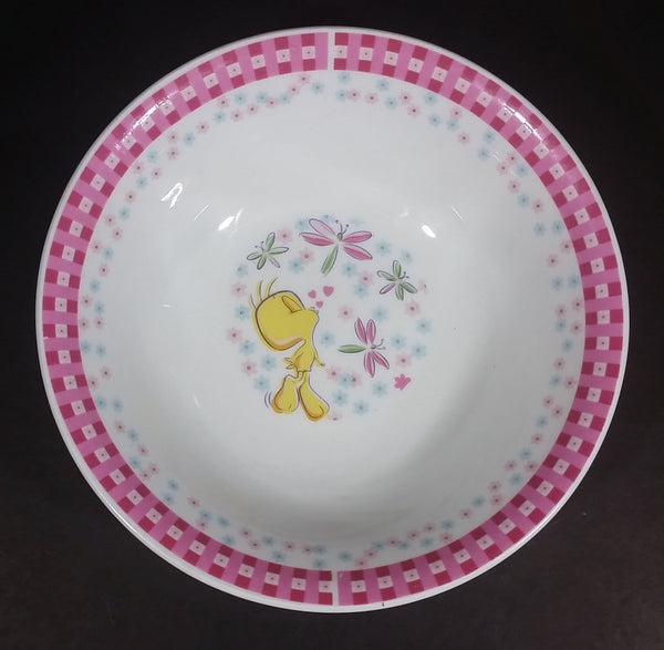 Collectible Warner Bros. Looney Tunes Tweety Bird Pink Rimmed Gibson Ceramic White Cereal Bowl - Treasure Valley Antiques & Collectibles
