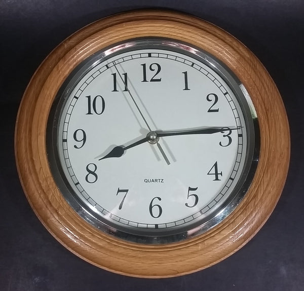 "Round Decorative Wooden Framed Battery Operated 11"" Quartz Clock Made in China 0401 - Treasure Valley Antiques & Collectibles"