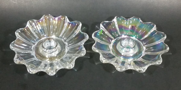 "Set of 2 - 1950s Fostoria Carnival Glass Company - Ohio - Clear Rainbow Iridescent Scalloped Celestial Pattern 5 1/4"" Candle Holders - Treasure Valley Antiques & Collectibles"