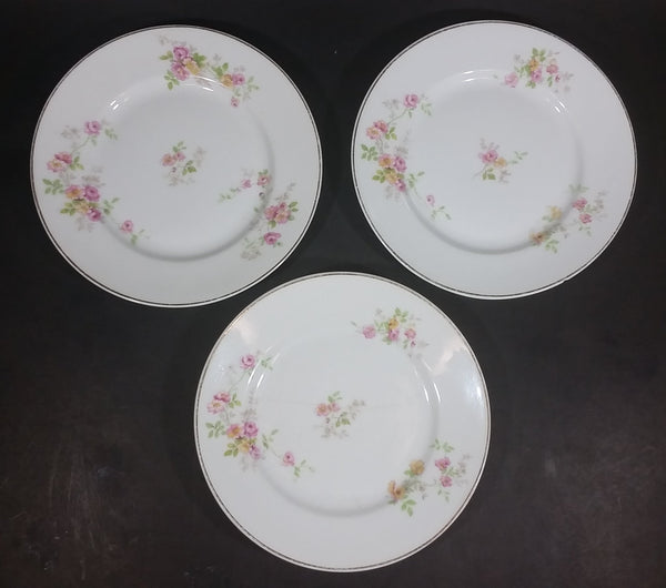 "Vintage Set of 3 Limoges 6 1/2"" White Pink Floral Porcelain Plates with Gold Rim - Treasure Valley Antiques & Collectibles"