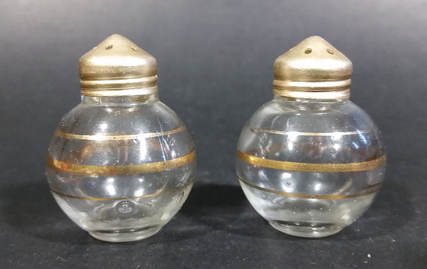 Vintage Glass Globe Salt and Pepper Shakers with Gold Ringed - Treasure Valley Antiques & Collectibles