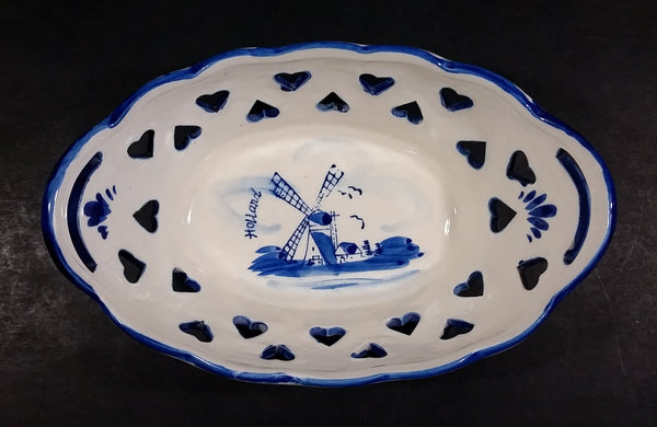 Beautiful Vintage Delft Blue Hand Painted Holland Windmill Scene With Heart Holes Double Handled Porcelain Basket - Treasure Valley Antiques & Collectibles